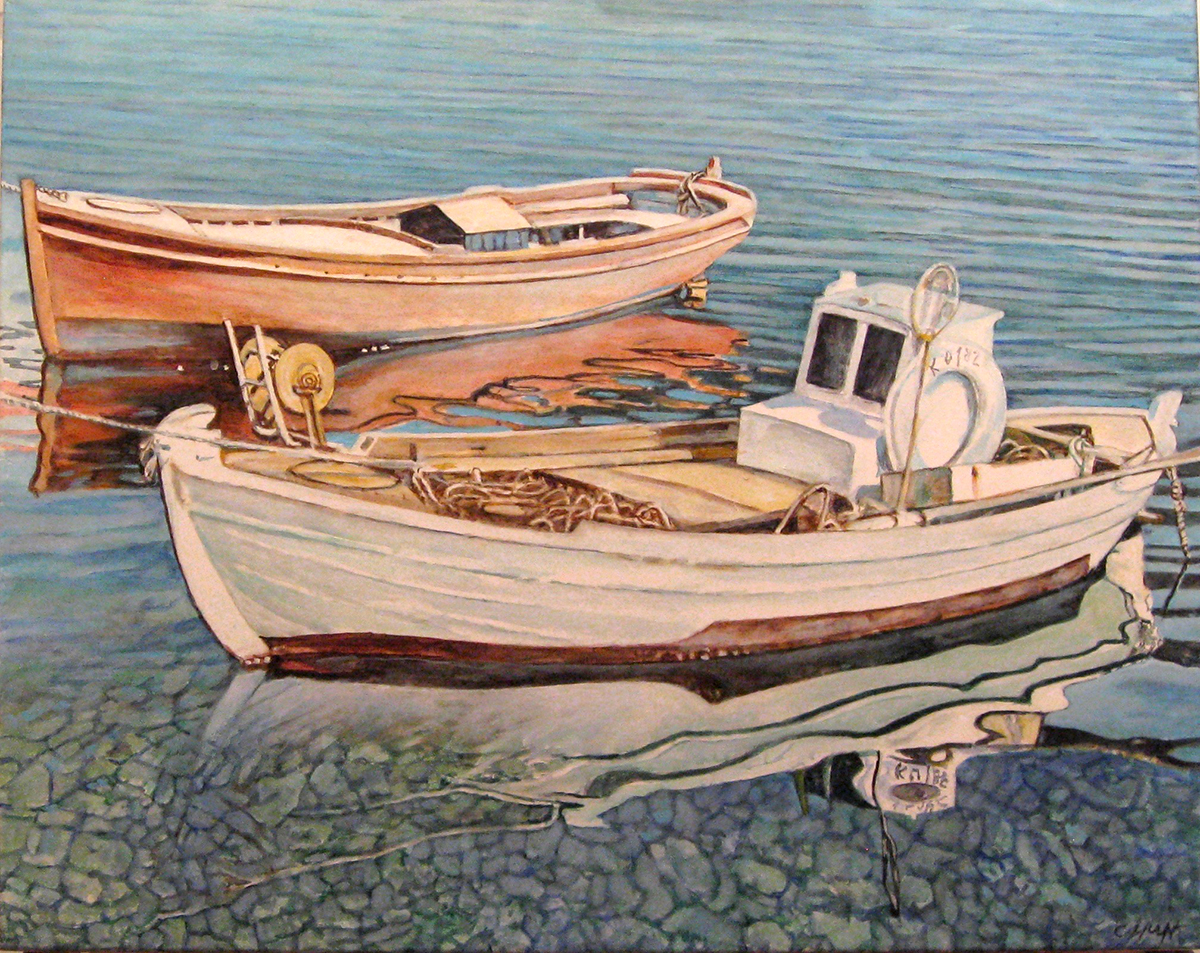 Caroline huff artwork paintings for Fishing boat painting